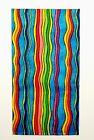 POCKET SQUARE Flat Top Blue  Multi Color Vertical Wiggle Stripes-folded  Sewn