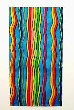 POCKET SQUARE Flat Top Blue & Multi Color Vertical Wiggle Stripes-folded & Sewn