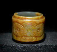 """Excellent Chinese Ancient Jade Carved Beast Face CONG For Ceremony 2.12"""""""