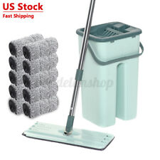 Flat Squeeze Mop and Bucket Set Free Hand Easy Floor Cleaning Microfiber Pad US