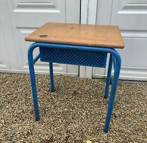 Vintage French Wood And Metal School Desk 1970'S