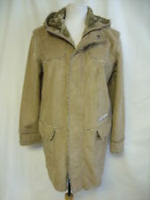 Ladies Faux Fur Coat River Island UK S Camel pockets hood zip & studs 1038