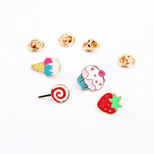 4 Piece/Set Lovely Enamel Ice Cream Cake Jeans Clothes Badge Brooch Pin Jewelry