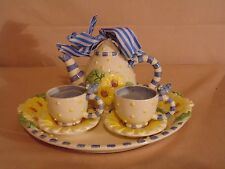 Mud Pie Daisy Mini Tea Set Setting for Two Ceramic Child Doll Size NEW