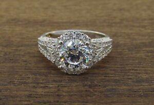 DEMARCO 18k White Gold Diamond Halo Engagement Ring Setting