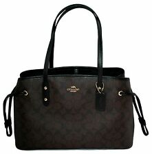 NWT Coach Signature Drawstring Carryall Shoulder Bag Brown/Black F57842 RT $350