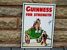 """1980s  ENAMEL """"GUINNESS for STRENGTH"""" SIGN by Garnier of London  HORSE CART"""