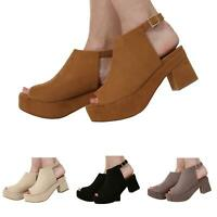 WOMENS LADIES OPEN TOE BLOCK HEEL ANKLE STRAP SANDALS SHOES SIZE 3-8