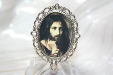 Custom Silver Rosary Center Part/Rosary Making/Pensive Jesus/Holy Face # 2