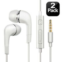 2PCS Genuine Samsung Handsfree Wired Headset Earphones Earbud with Mic-White