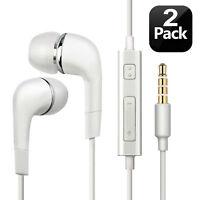2pcs Genuine Samsung Handsfree Wired Headphones Earphones Earbud with Mic-White