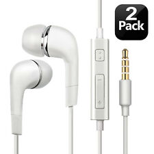 2pcs For Samsung Handsfree Wired Headphones Earphones Earbud with Mic-White