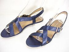 CARLO PAZOLINI METALLIC BLUE LEATHER STRAPS OPEN TOE FLATS SANDALS WOMEN'S 40