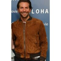 Men's Brown Suede Leather Jacket Bomber Jacket