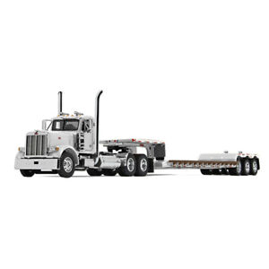 2019 First Gear DCP 1:64 *WHITE* Peterbilt 379 Day Cab Semi w/RENEGADE LOWBOY