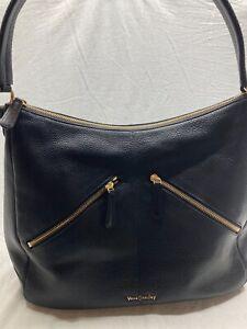 Vera Bradley Black Pebbled Leather Shoulder Bag