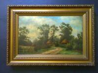 Antique Victorian Landscape, Oil Painting, Farm, Cottages, Original, Gilt Fram