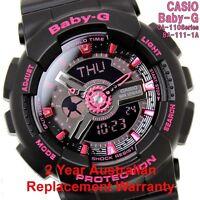 CASIO BABY-G WATCH BA-111-1A FREE EXPRESS BLACK x PINK BA-111-1ADR 2Y WARRANTY