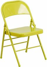 Flash Furniture HERCULES COLORBURST Series Twisted Citron Folding Chair New