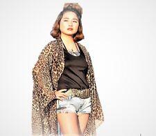 Plus Size Kimono Style Jacket Chiffon Top Animal Print Leopard Brown Kaftan Top
