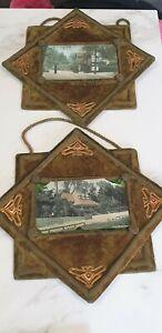 antique green velvet pair of picture post card photo frames