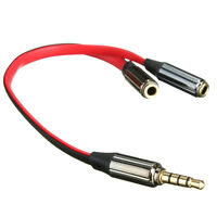 Stereo Headphone Audio Male To 2 Female Y Splitter Cable Adapter Plug-Jack