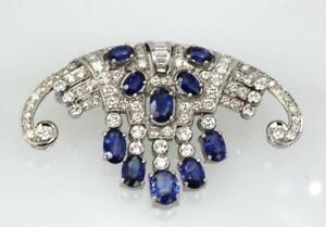 Circa 1935 Art Deco 925 Silver 7.18 Carat Sapphire & White CZ Fringe Fine Brooch