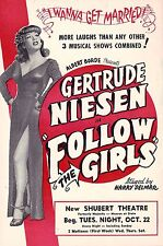 "Gertrude Niesen ""FOLLOW THE GIRLS"" Buster West / Guy Bolton 1946 Chicago Flyer"