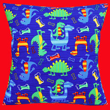 "NEW CARTOON DINOSAURS BLUE RED GREEN YELLOW Cotton 16"" Pillow Cushion Cover"