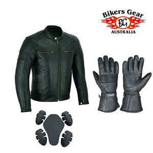 BIKERS GEAR AUSTRALIA Motorcycle Distressed Leather Jacket & Long Gloves Black