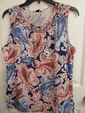 CHAPS RALPH LAUREN PINK BLUE LIME GREEN PAISLEY BRAIDED TANK TOP CAMI S L XL NWT