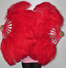 "A pair of Red single layer Ostrich Feather Fans 24""x 41"" Burlesque with box"