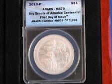 2010-P Boy Scouts Centennial Silver Dollar ANACS MS70 B3578