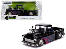 1/24 Jada 1955 Chevrolet Stepside & Blower Engine Diecast Flames and Black 30714