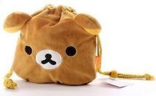 Kawaii Cute Relaxing Bear Rilakkuma Plush Drawstring Coins Makeup Bags