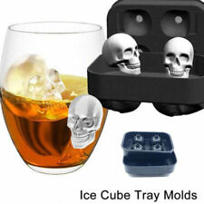 Skull Shape 3D Ice Cube Mold Maker Bar Party Silicone Trays Halloween Mould Gift