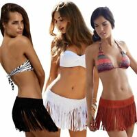 Sexy Women Beach Summer Tassel Fringe Mini Skirt Bikini Cover Up UK
