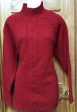 Womens Lands End Firebrick Red Wool Mockturtle Cable Sweater Size M 10-12