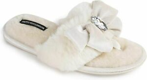 Pretty You London Diana Cream Plush Jeweled Slippers Women's Size M 6.5-7.5 NEW