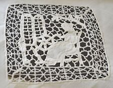 VINTAGE LINEN TEA CLOTH TABLECLOTH WITH LACE INSERTIONS UU637