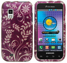 For Samsung Fascinate i500 Hard Protector Snap On Phone Cover Purple White Vines