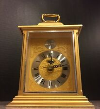 Vtg 1 Jewel Gold Bulova Desk Mantel Clock Tempus Fugit 7Rg050 Free Priority Ship