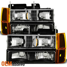 Fit 1994-99 GMC C/K Pickup Suburban Sierra Black Headlights+Bumper+Corner Lights