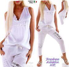 NEU 36 38 Satin-Look Metallic Print Shirt Top V-Ausschnitt Spitze Weiß Italy S M