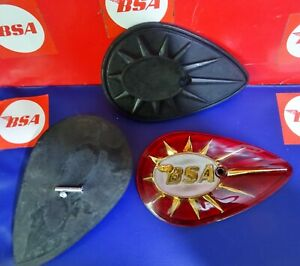 BSA A10/ A65/C15...RED PEARDROP BADGES C/W RUBBER BACKINGS AND SCREWS  ...1 PAIR