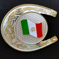 Western Mexico Flag Belt Buckle Big Oversize Cowboy Gold Silver HIGH QUALITY