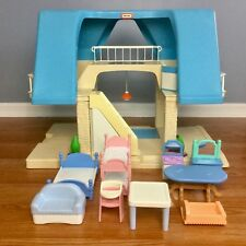 Vintage LITTLE TIKES Dollhouse & Furniture Lot Blue Roof Large Family Play House