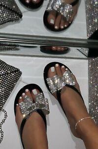 New Women Bling Rhinestone Bow Slide Flat Jelly Sandal Flip Flops Thong Open Toe