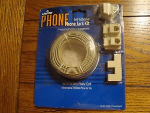 Leviton Telephone Jack Kit (Landline) Self-Adhesive Wire, Adapter, Jacks,Guides