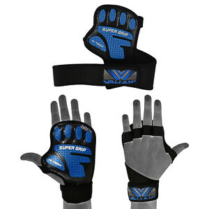 SUPERGRIP BACKLESS CROSSFIT WEIGHT LIFTING FITNESS GYM GLOVES WITH WRIST SUPPORT